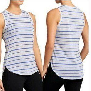 Athleta Blue Gray Asana Tank Top Size Small Stripe